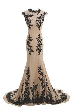 Tidetell.com Exquisite Jewel Mermaid Sweep Train Chiffon Lace Champagne Evening Dress