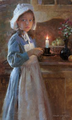 Illuminated girl with candle by portrait artist Morgan Weistling available from Snow Goose Gallery