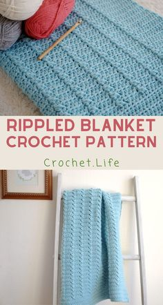 I love a fast crochet blanket pattern more than anything else. Completing a project quickly is just so fun--and then I can move on to the next! And this rippled fast crochet blanket is perfect! Crochet Crafts, Crochet Yarn, Crochet Hooks, Crochet Projects, Fast Crochet, Crochet Bebe, Afghan Crochet Patterns, Knitting Patterns, Baby Blanket Crochet