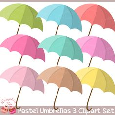 These pastel-colored Umbrella cliparts are perfect for making your cards, paper…
