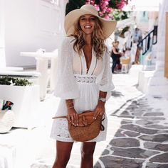 foray collective, shop by influencer, outfit, summer, casual, street style, stylish, trendy, beach, beauty, fashion blogger, influencer, instagram, outfits,outfit ideas,shop, shopping, fashion trends, fashion, cute, dresses, for women, simple, style, to follow, inspiration, summer vibes, chic, white dress, white on white, little white dress, short dress, natasha oakley, zimmermann, hat, greece, basket bag