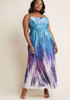 Brushstroke to Conclusions Maxi Dress in Cool - Those who have the pleasure of eyeing you in this ModCloth namesake label maxi dress will accurately assume your personality is just as whimsical! Supported by adjustable straps, a tailored bodice, gathered waist, and a flow of teal, purple, and white brushstrokes see that this pocketed frock radiates playful panache.