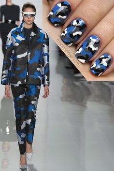 blue camo nail art inspired by fashion - Michael Kors Fall 2013 Camo Nail Art, Camouflage Nails, Camo Nails, Swag Nails, Camo Nail Designs, Acrylic Nail Designs, Nail Art Designs, Nails Design, Acrylic Nails