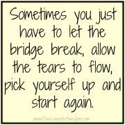 Sometimes you just have to let the bridge break, allow the tears to flow, pick yourself up and start again. Chronic Illness/ Ménière's Disease