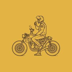 Café Racer line work hand drawn illustration drawing badge patch logo branding motorbike bike coffee cafe racer Art And Illustration, Illustration Inspiration, Illustrations, Bike Tattoos, Motorcycle Tattoos, Motorcycle Logo, Motorcycle Dealers, Women Motorcycle, Logo Branding