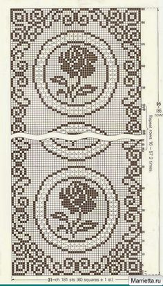 Crochet for the home. Sirloin knitting with roses Crochet Edging Patterns, Filet Crochet Charts, Bead Loom Patterns, Crochet Stitches, Cross Stitch Patterns, Hippie Crochet, Crochet Art, Lace Doilies, Crochet Doilies