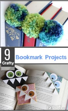 9 Crafty Bookmark Projects- Cute DIY bookmark ideas and crafty ideas for household items.  Fun for adults or kids.  DIY bookmarks