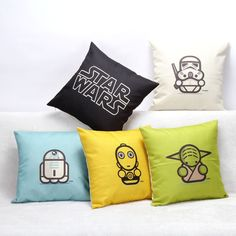 May the force be with you... in style. Add a little Star Wars love with these colorful and minimalistic art pillows. These adorable pillows come in five designs starting from RD-2D blue, C-3PO yellow,