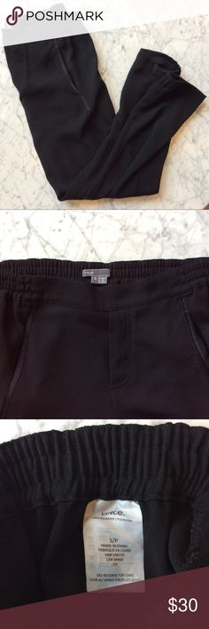 Black Vince Joggers Black Vince Joggers with elastic waist, pockets, satin trim down the side, gathering at ankles. Ankle length. Very good used condition. Vince Pants Track Pants & Joggers