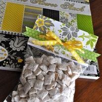 cute way to wrap homemade treats - using bag, staple on scrapbook paper, add a bow.. perfect gift for kids this Christmas!