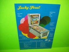 Zaccaria LUCKY FRUIT Original 1975 Flipper Game Pinball Machine Sales Flyer RARE  #Zaccaria #Pinball #PinballFlyer @PinballMachineFlyers