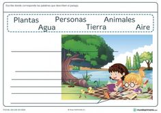 Ficha de palabras del paisaje para primaria