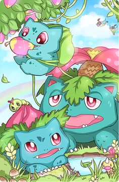 Pokemon: Pokefamily Vacation: Bulbasaur by Darien Chen / Geegeet Play Pokemon, New Pokemon, Cool Pokemon, Pokemon Fan, Pokemon Bulbasaur, Pikachu, Lugia, Blue Exorcist, Tolkien