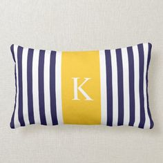 Navy Blue Yellow Stripes Monogram Lumbar Pillow