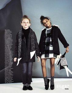 Alejandra & Zoe from Sugar Kids for Vogue Niños - Vogue España. Monochrome by Franck Malthiery.