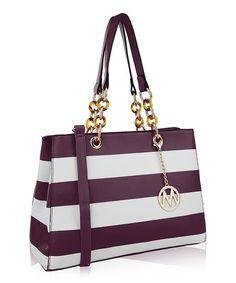 MKF Collection Purple Stripe Tote  15338f66dc384