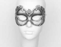 Antiqued Silver Masquerade Mask With Baroque Swirls  by SOFFITTA