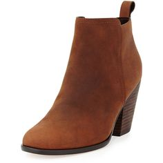 """Cole Haan. Chesney Leather Ankle Bootie, Cognac. Cole Haan leather bootie. 3 1/2"""" stacked block heel. 3 1/2"""" ankle-high shaft. Pull tab at backstay. Side…"""