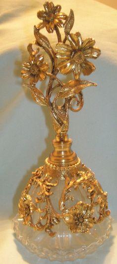 Ornate Roses by Matson Perfume Bottle 24KT Gold Gilt w Dauber | eBay