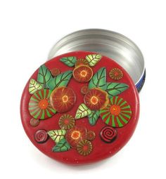 "Trinket Box Pill Box Treasure Box Engagement Ring Box Red Round Handmade Polymer Clay Tin Interior Gift for Her Floral Cane Work 2 3/8"" Wide by SweetchildJewelry on Etsy https://www.etsy.com/listing/492808693/trinket-box-pill-box-treasure-box"