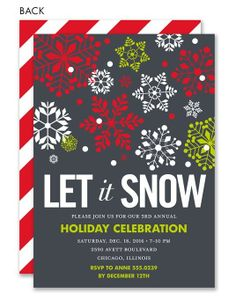 Let it Snow Red and Green Holiday Invitation #holiday #party #winter #wonderland #invitation