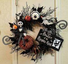Jack Skellington Halloween Wreath Nightmare by SouthTXCreationsMove Over Christmas, Halloween Wreaths Are In!Halloween decor DIY Nightmare Before Christmas wreath with Jack Skellington and mini pumpkinsHalloween wreaths for front door scaryThe Nightm Casa Halloween, Halloween Tags, Halloween Design, Spirit Halloween, Holidays Halloween, Happy Halloween, Vintage Halloween, Halloween Bathroom, Vintage Witch