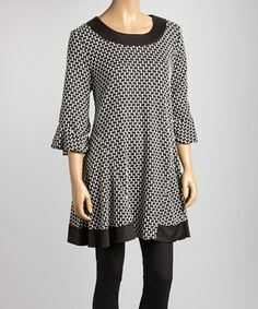 Take a look at this Ivory & Black Geometric Swing Tunic by Come N See on #zulily today!
