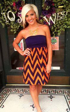 GameDay Chevron shown in Purple/Orange.  Go Clemson Tigers! $38.99   105 West Boutique (Abbeville, SC)