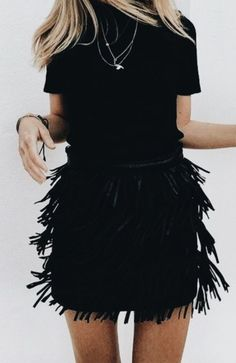 Feather skirt | all black classy outfit | chic outfit inspiration