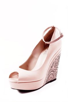 Leather Peep Toe Wedge// cute pink:)