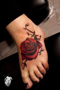 Rose tattoo, foot tattoo, flesh tattoo