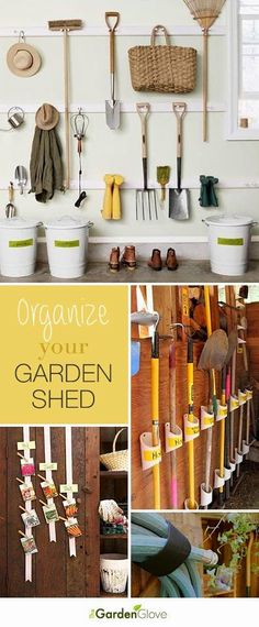 Hang them on the wall as decor but can be used!  LIKE  Organize Your Garden Shed • Lots of Ideas & Tutorials!