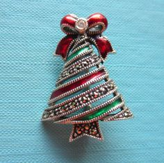 VINTAGE JUDITH JACK MARCASITE ENAMEL RIBBON CHRISTMAS TREE PIN (STERLING SILVER) | Jewelry & Watches, Fashion Jewelry, Pins & Brooches | eBay!