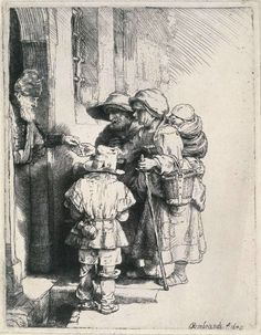 Beggars Receiving Alms at the Door of a House by Rembrandt #art
