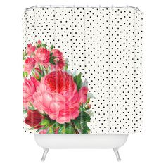 I love this! It makes me wish I had my own bathroom! -This charming shower curtain pairs a polka-dot motif with lush floral blossoms.