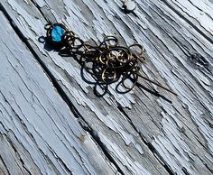 Wire Wrapped Copper Shawl Pin, Scarf Pin, crystal Pin, Stick Pin, Sweater Pin, blue crystal Pin, Handmade Pin,  brooch pin, gift for her