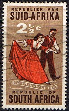 "South Africa 1962 SG 221 Volkspele folk-dancing Fine Used SG 221 Scott 281 Condition Fine Used Only one post charge - I remember the ""tikkie-draais"" PDL 2017 Union Of South Africa, My Land, Travel Planner, African History, Africa Travel, Stamp Collecting, Postage Stamps, Folk, Poster"