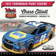 Officially licensed apparel for Chase Elliott by FanPrint. Produced by best quality digital printers. Nascar Sprint Cup, Nascar Racing, Auto Racing, Chevrolet Ss, Chevy, Darlington Raceway, Chase Elliott, Bill Elliott, Kevin Harvick