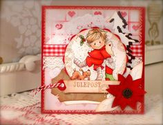 Synnøves Papirverksted: Christmascard in red, white and brown