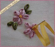 عمل ورده جميله بالشرائط - flower in ribbon embroidery ~ شغل ابره NEEDLE CRAFTS WITH FULL TUTORIAL