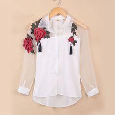 Fashion Blusas Summer Elegant Women Blouse Flower Embroidery Vintage Shirts Organza Sleeve Tops Plus Size Cheap Blouses, Blouses For Women, Mode Hijab, Mode Style, Vintage Shirts, Vintage Blouse, Fashion Outfits, Womens Fashion, Blouse Designs