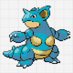#31 Nidoqueen Pokemon Go, Pokemon Sprites, Pokemon Pokedex, Hama Beads Pokemon, Diy Perler Beads, Perler Bead Art, Cross Stitch Charts, Cross Stitch Patterns, Pokemon Cross Stitch