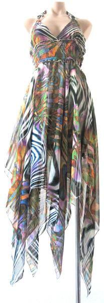 Ellie Mei Women's Zebra Strips Printed Chiffon Dress. .Open  Back Dress KHL-EMFC667Zebra  #elliemei #fizzlv #fashionshowdress #fashionista #chiffondress #highfashion #lowprice #onsale #beach #summer #print #Hawaii