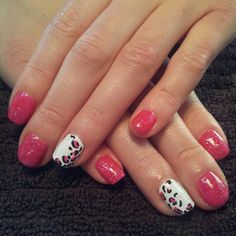 Pink leopard print nail art! Love this manicure done by Tearra at @SimpleSolitude in Vancouver, WA!