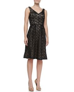 OWN - Sequined Lace Fit-and-Flare Cocktail Dress by Sue Wong at Neiman Marcus Last Call.