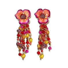 "JAY By Jay Strongwater JAY Jay Strongwater ""Enchanted Garden"" Enamel Goldtone Pansy Beaded Tassel Drop Earrings -"