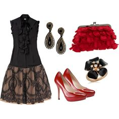 black and red dressy outfit. IN LOVE Wish the top was a little shorter and skirt was  bit longer though