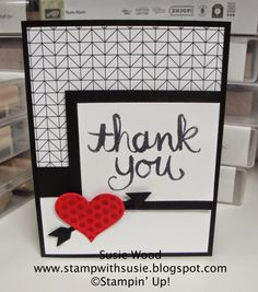 Stampin' Up!- 'Watercolor Thank You' and 'Groovy Love' with Back to Black Designer Paper, plus the Sweetheart Punch and Arrow Punch.