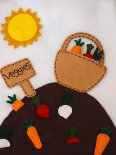 Adorable vegetable garden quiet book page. You can pick the vegetables out of the ground!