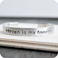 Eleventh Doctor Who Matt Smith bracelet aluminum adjustable hand stamped mens womens unisex funny geekery british english on Etsy, $16.00